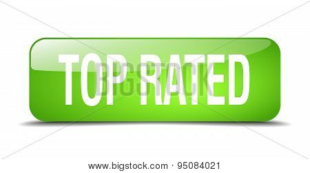 Top Rated Green Square 3D Realistic Isolated Web Button