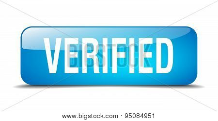Verified Blue Square 3D Realistic Isolated Web Button