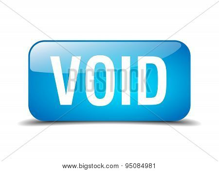 Void Blue Square 3D Realistic Isolated Web Button