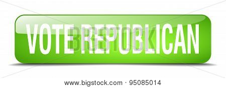 Vote Republican Green Square 3D Realistic Isolated Web Button