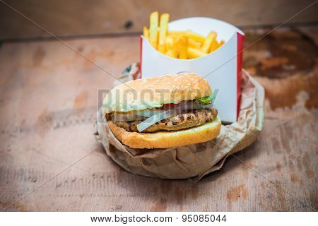 Closeup Of Burgers  Served With French Fries
