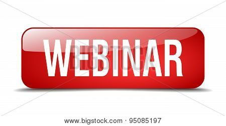 Webinar Red Square 3D Realistic Isolated Web Button