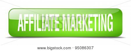 Affiliate Marketing Green Square 3D Realistic Isolated Web Button