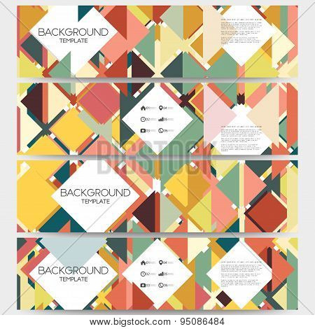 Abstract colored backgrounds with place for text, triangle design vector. Web banners collection, ab
