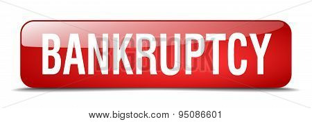 Bankruptcy Red Square 3D Realistic Isolated Web Button
