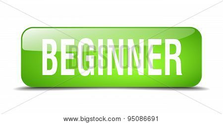 Beginner Green Square 3D Realistic Isolated Web Button