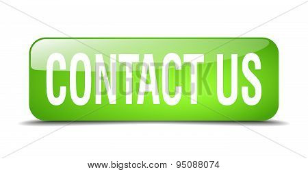 Contact Us Green Square 3D Realistic Isolated Web Button