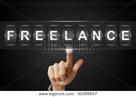 Business Hand Clicking Freelance On Flipboard