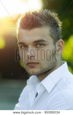 Portrait Of Tempting Boy Outdoor