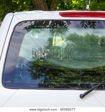 Authentic Trace After Being Shot With Rifle On The Rear Window Of Car