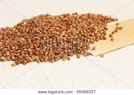 Buckwheat On A Rough White Fabric.
