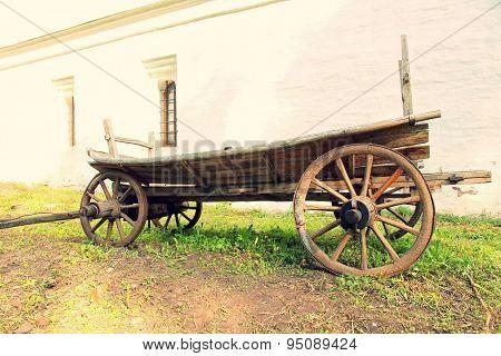 Vintage Old Wooden Cart.toned Image.