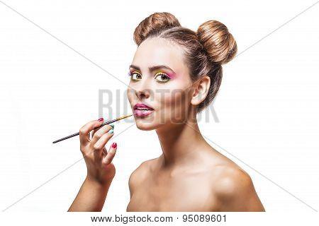 Beautiful Fashion Model Girl Whose Makeup Artist Apply Makeup, Lip Gloss