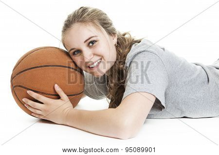 Portrait of a teen with basket ball
