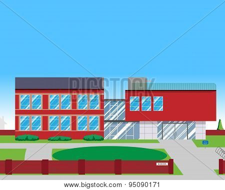 View of the design of the modern school. Vector illustration