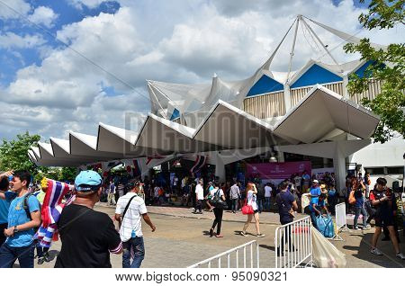 Bangkok, Thailand - July 3, 2015: Thai Supporters At Indoor Stadium Huamark During