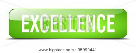 Excellence Green Square 3D Realistic Isolated Web Button