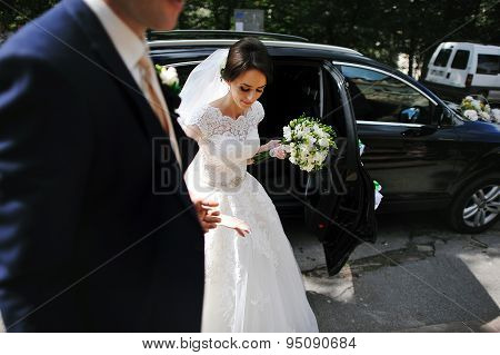 Groom Take Hand His Bride Out From Wedding Car