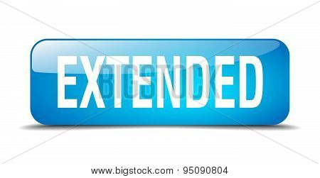 Extended Blue Square 3D Realistic Isolated Web Button