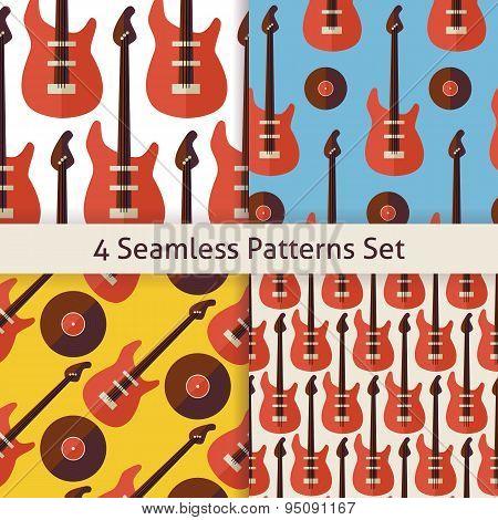 Four Vector Flat Seamless Music Instrument Rock Guitar Patterns Set