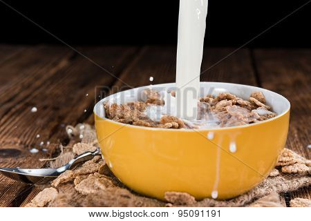 Bowl With Cornflakes And Milk