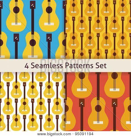 Four Vector Flat Seamless String Music Instrument Guitar Patterns Set