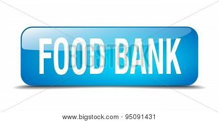 Food Bank Blue Square 3D Realistic Isolated Web Button