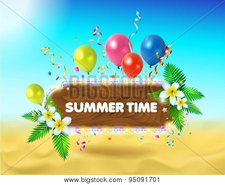 Vector Summer Background. Illustration Of Summer Beach.