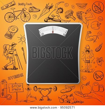 healthy lifestyle background with Bathroom Weight Scale