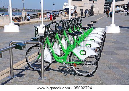 City hire bikes, Liverpool.