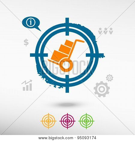 Hand Truck  On Target Icons Background