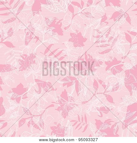 Vector Exotic Pink Dawn Florals Seamless Pattern