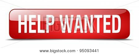 Help Wanted Red Square 3D Realistic Isolated Web Button