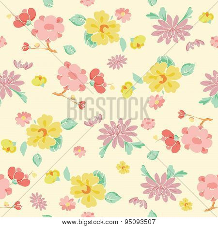 Vector Painterly Pink Yellow Kimono Flowers Seamless Pattern
