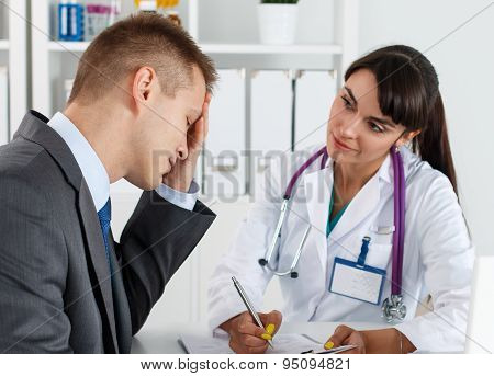 Concerned Beautiful Female Medicine Doctor Listening Carefully Patient Complaints