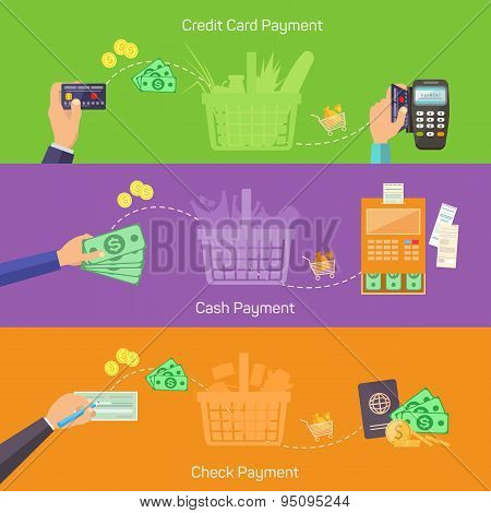Concepts for online shopping, delivery and payment methods.