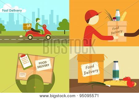 Vector illustration of food delivering.