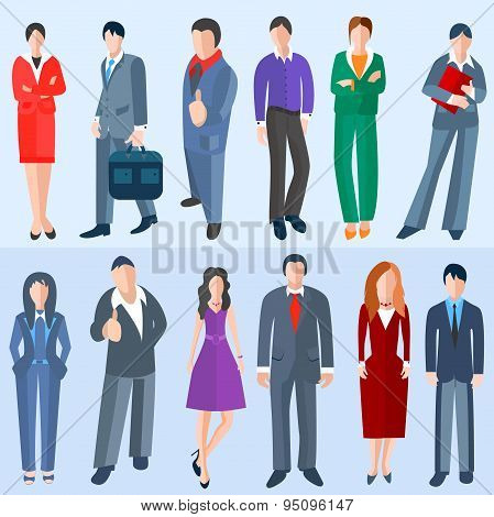Set isolated business men and women