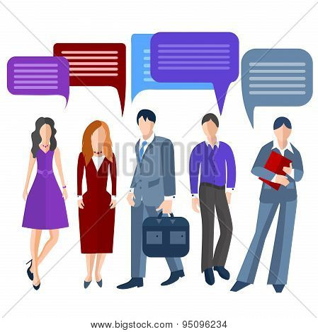 Group business people isolated, men, women, girls, boys