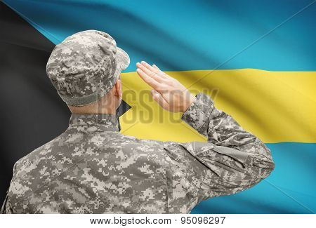 Soldier In Hat Facing National Flag Series - Bahamas