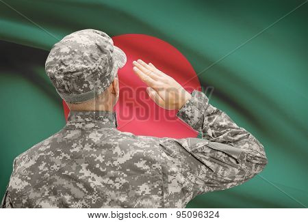 Soldier In Hat Facing National Flag Series - Bangladesh