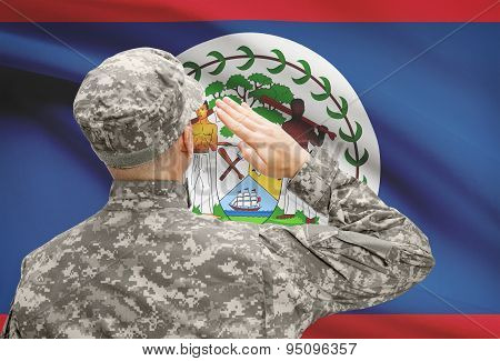 Soldier In Hat Facing National Flag Series - Belize