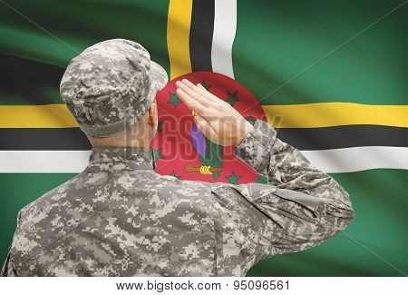 Soldier In Hat Facing National Flag Series - Dominica