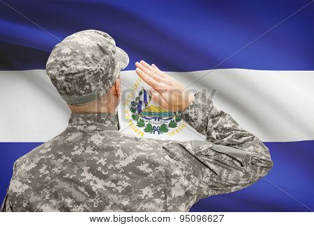Soldier In Hat Facing National Flag Series - El Salvador