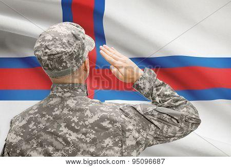 Soldier In Hat Facing National Flag Series - Faroe Islands