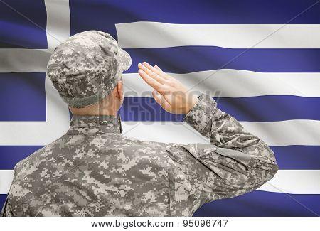 Soldier In Hat Facing National Flag Series - Greece