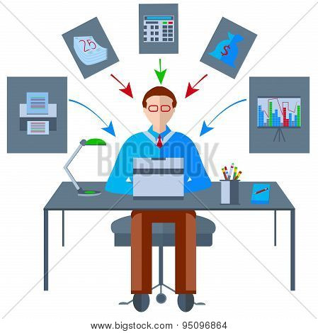 Icons isolated table businessman, fax, laptop, lamp, table, graph