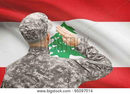 Soldier In Hat Facing National Flag Series - Lebanon