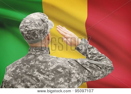 Soldier In Hat Facing National Flag Series - Mali