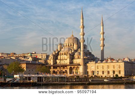Yeni Cami, Meaning New Mosque Lit With The Morning Sun, Istanbul